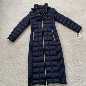 Michael Kors Navy Long Puffer Coat w/ Hood